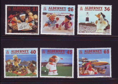 Alderney Scott  148-53 2000 Wombles on vacation stamp set NH