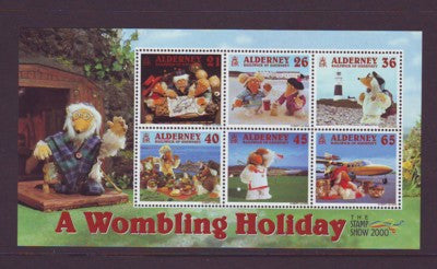 Alderney Scott  153a 2000 Wombles on Vacation stamp sheet NH