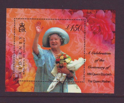 Alderney Scott  154 2000 Queen Mother 100 years stamp sheet NH