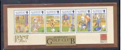 Alderney Scott  175a 2001 Golf Club stamp sheet NH