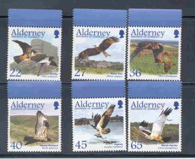 Alderney Scott  185-90 2002 Migrating Birds Raptors stamp set NH