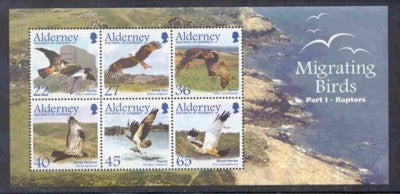Alderney Scott  190a 2002 Migrating Birds Raptors stamp sheet NH