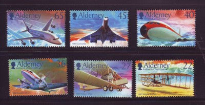 Alderney Scott  203-8 2003 100th Anniversary Powered Flight stamp set NH