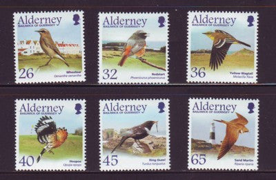 Alderney Scott  233-8 2004 Passerines Migrating Birds stamp set NH