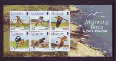 Alderney Scott  238a 2004 Passerines Migrating Birds stamp sheet NH