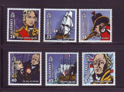 Alderney Scott  250-5 2005 Battle of Trafalgar stamp set NH