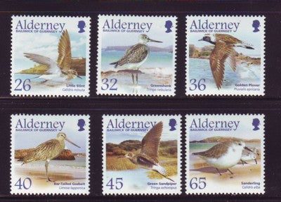 Alderney Scott 256-61 2005 Migrating Birds, Waders,  stamp set NH