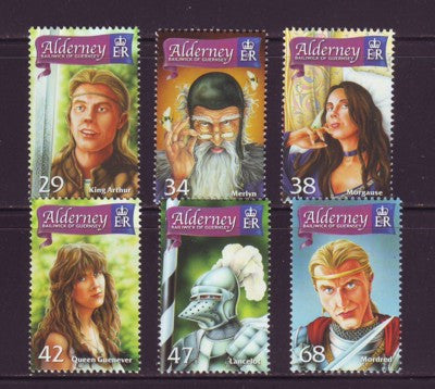 Alderney Scott  263-8 2006 King Arthur  stamp set NH