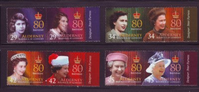 Alderney Scott  269-72 2006 80th Birthday QE II stamp set NH