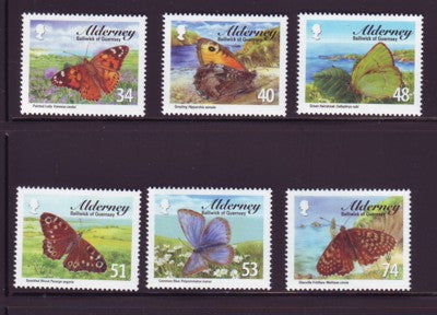 Alderney Scott  313-8 2008 Butterflies stamp set NH