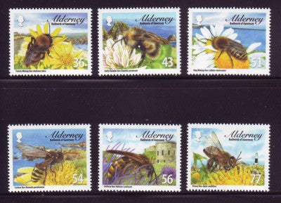 Alderney Scott  338-43 2009 Bees stamp set NH