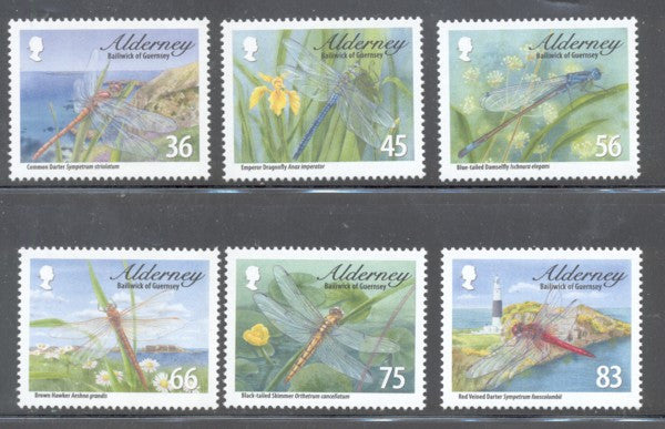 Alderney Scott  362-7 2010 Dragonflies stamp set mint NH