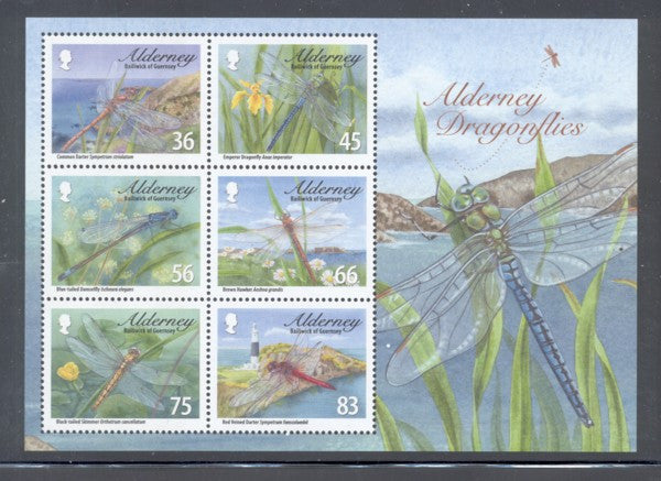 Alderney Scott  367a 2010 Dragonflies stamp sheet mint NH