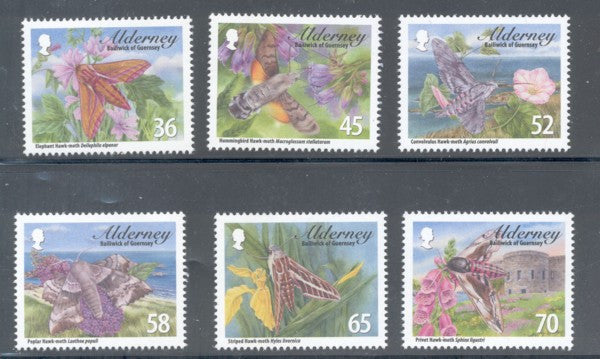Alderney Scott  397-402 2011 Hawkmoths stamp set mint NH
