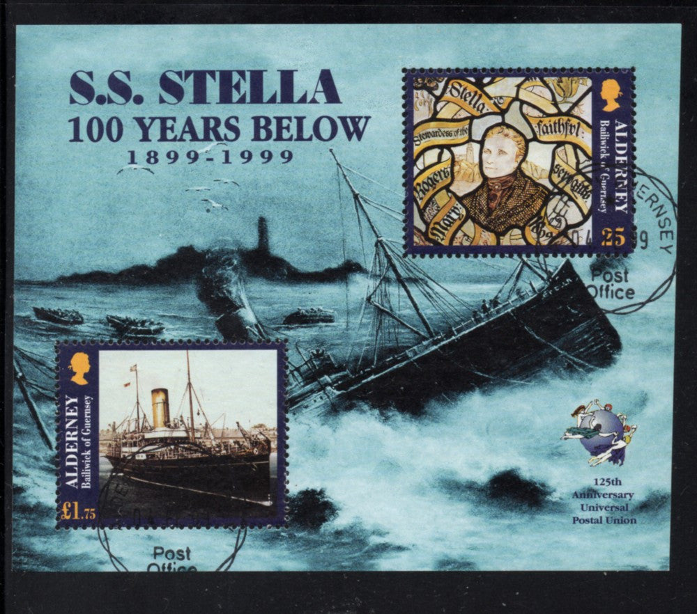 Alderney Scott  127 1999 Wreck of S S Stella stamp sheet used