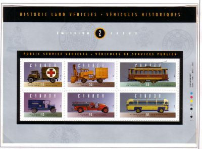 Canada Sc 1527 1994 Historic Land Vehicles stamp souvenir sheet mint NH