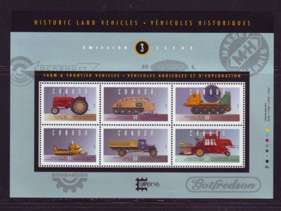 Canada Sc 1552 1995 Historic Land Vehicles stamp souvenir sheet mint NH