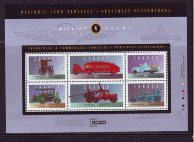 Canada Sc 1604 1996 Historic Land Vehicles stamp souvenir sheet mint NH