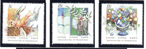 Cyprus Scott 696-98 1987 Christmas stamp set mint NH