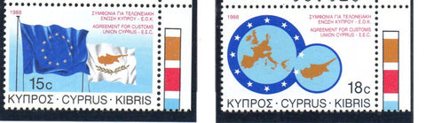 Cyprus Scott 699-700 1988 Customs Union stamp set mint NH