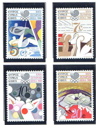 Cyprus Scott 705-8 1988 Olympics stamp set mint NH
