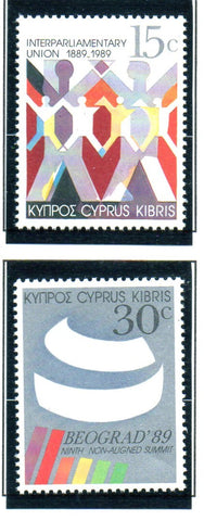 Cyprus Scott 727-8 1989 IPU & Summit stamp set mint NH