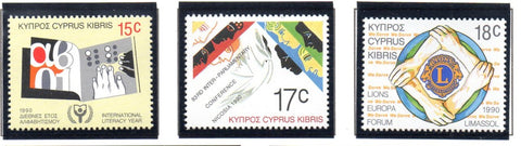 Cyprus Scott 752-4 1990 various Anniversaries & Events stamp set mint NH