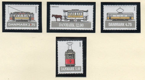 Denmark  Scott  1006-1009 1994 Trams & Streetcars stamp set mint NH