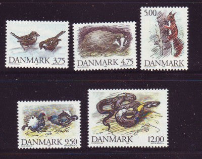 Denmark  Scott  1012-16 1994 Wild Animals stamp set mint NH