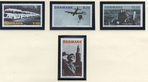 Denmark  Scott  1026-29 1995 50th Anniversary Liberation stamp set mint NH