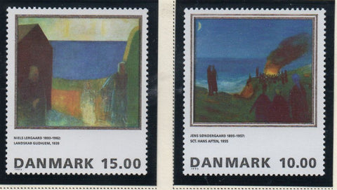 Denmark  Scott  1033-34 1995 Paintings stamp set mint NH