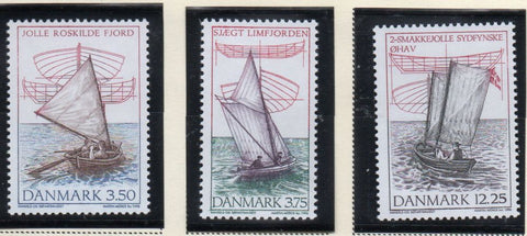 Denmark  Scott  1052-54 1996 Wooden Dinghies stamp set mint NH