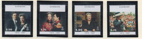 Denmark  Scott  1063-66 1997 25th Anniv Queen Margrethe stamp set mint NH