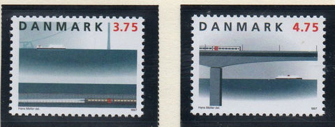 Denmark  Scott  1071-2 1997 Great Belt Railway Link stamp set mint NH