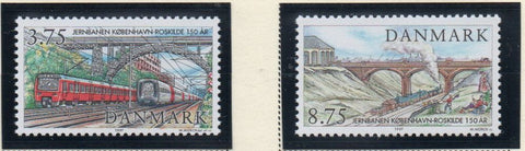 Denmark  Scott  1075-6 1997 Copenhagen- Roskilde Railway stamp set mint NH