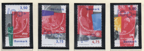 Denmark  Scott  1086-89 1998 Trade Unions stamp set mint NH