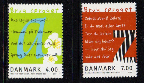Denmark  Scott  1196-7 2001 Language stamp mint NH