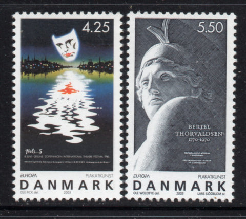 Denmark  Scott  1250-1 2003 Europa Poster Art stamp set mint NH
