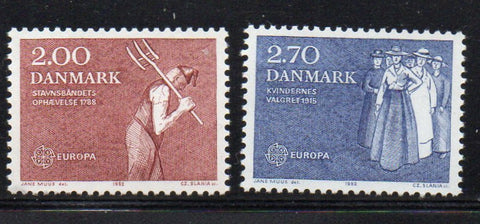 Denmark  Scott  723-4 1982 Europa stamp set mint NH