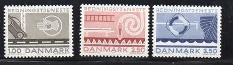Denmark  Scott  742-4 1983 Lifesaving & Salvage services stamp set mint NH
