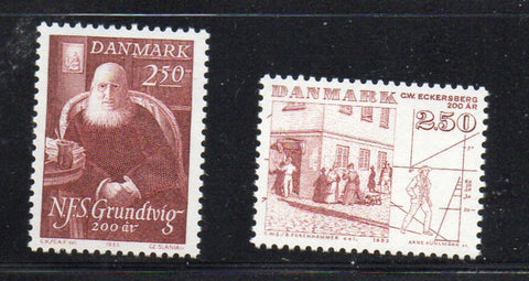 Denmark  Scott  747-8 1983 Grundtvig & Eckersberg stamp set mint NH