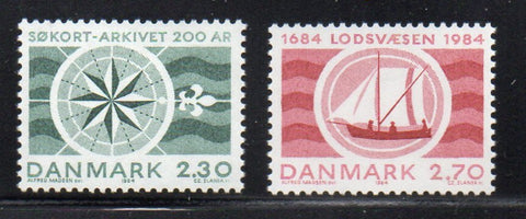 Denmark  Scott  751-2 1984 Pilotage & Hydrographic  stamp set mint NH
