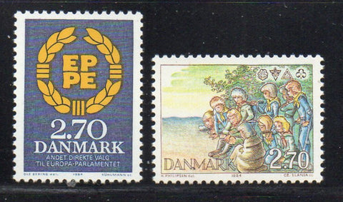 Denmark  Scott  753-4 1984 Elections & Scouts stamp set mint NH