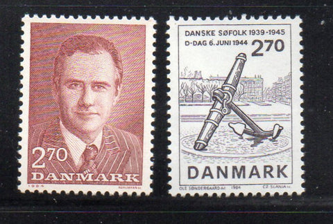 Denmark  Scott  757-8 1984 Prince Henrik & D-Day stamp set mint NH