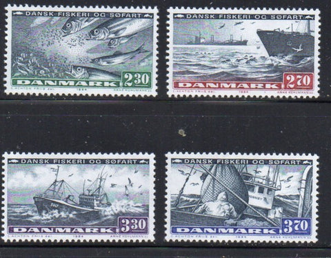 Denmark  Scott  760-3 1984 Fishing & Shipping Industries stamp set mint NH