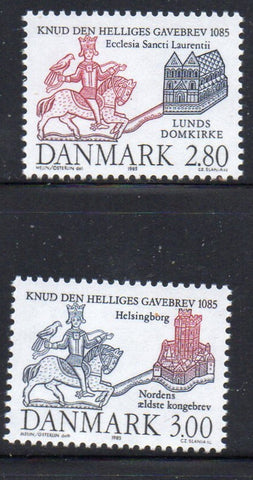 Denmark  Scott  777-8 1985 King Cnut stamp set mint NH