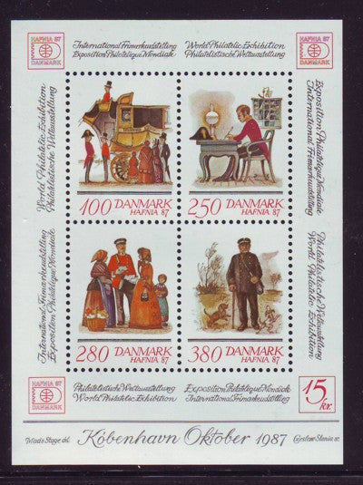 Denmark Scott 825 1986 HAFNIA '87 Philatelic exhibition stamp sheet mint NH