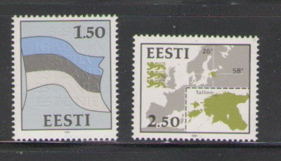 Estonia Scott 209-10 1991 Map & Flag stamp set mint NH