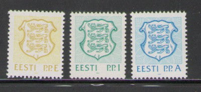 Estonia Scott 211-13 1992 E, I, A Coat of Arms stamp set mint NH