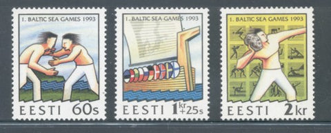 Estonia Scott  241-43 1993  1st Baltic Games stamp set mint NH